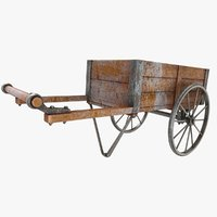 wooden vendor cart old 3D