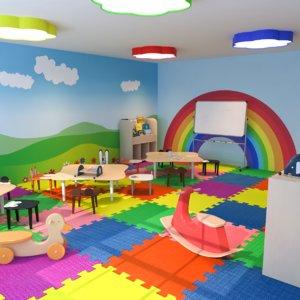 3D interior scene nursery classroom