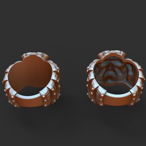 silver ring samurai armor model