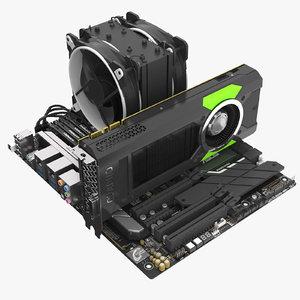 asus motherboard cpu ram 3D model