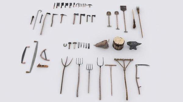 51 medieval village hand tools model