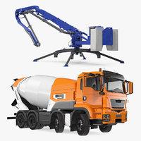 3D model mixer truck concrete boom