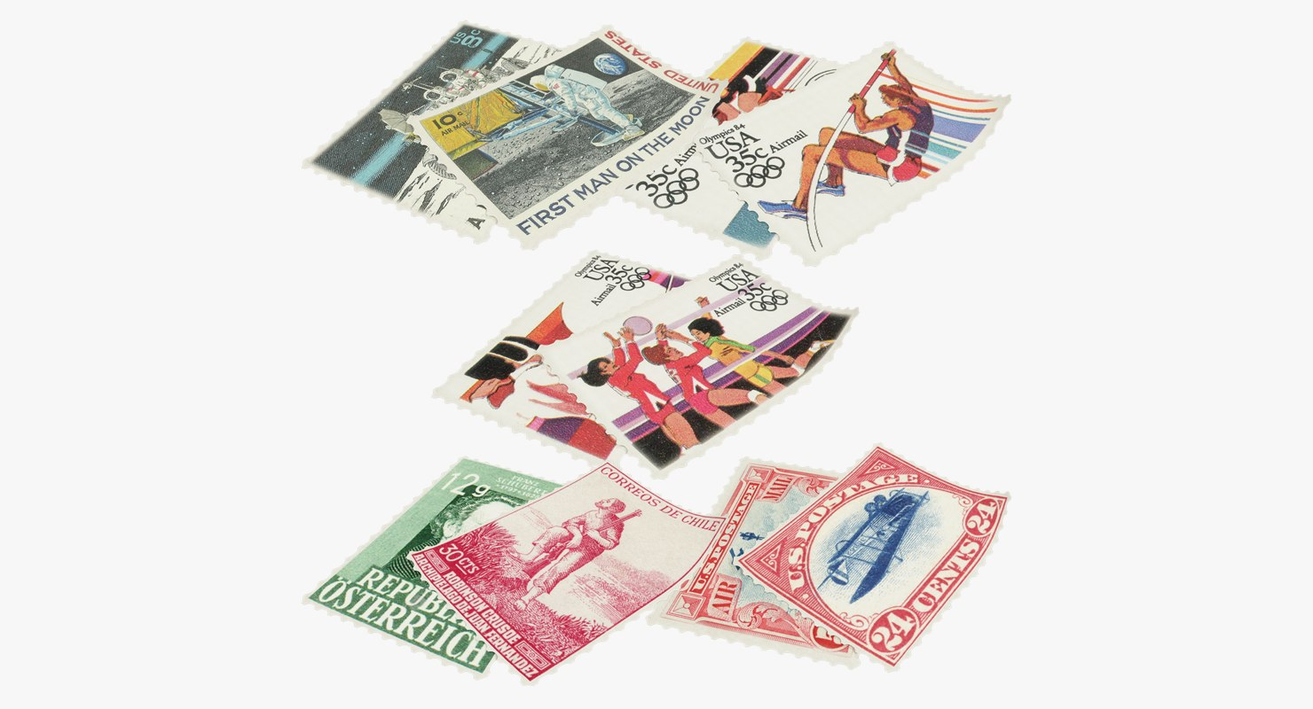 postage stamps v3 3D