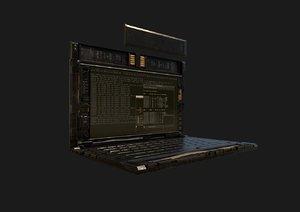 hacker laptop sci-fi 3D model