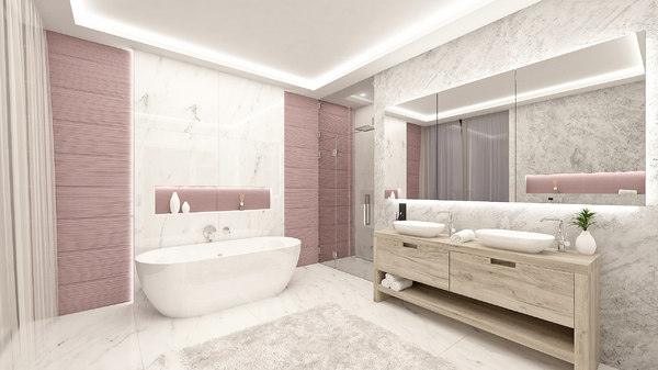 pink bathroom interior model