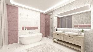 pink bathroom interior model