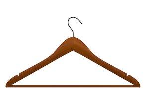 3D model clothes hanger wood