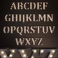 3D model lighted metal sign set