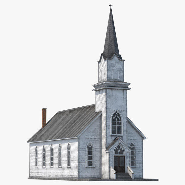 3D old wooden church
