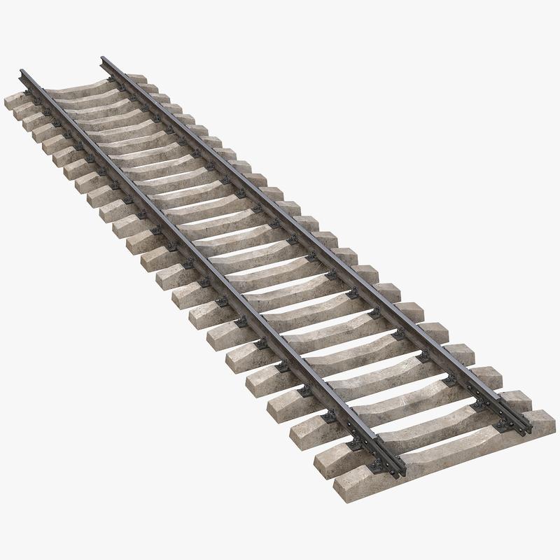 railway track straigh 3D model