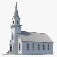 small white wooden church 3D model