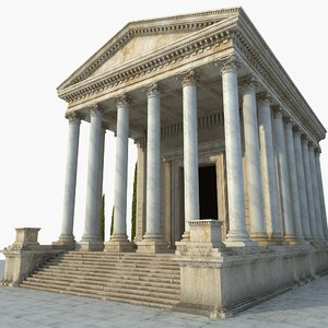 3D model ancient temple greek architecture