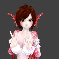 3D model mermaid pink