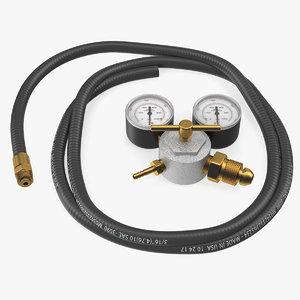 3D argon pressure regulator gas model
