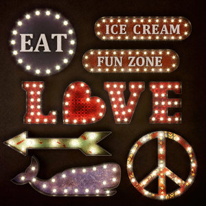 lighted metal sign set 3D