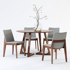 3D model scandinavian fuchsia dining chair