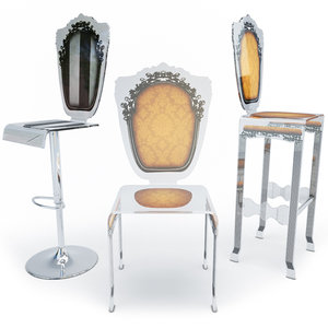 chair bar stools baroque 3D