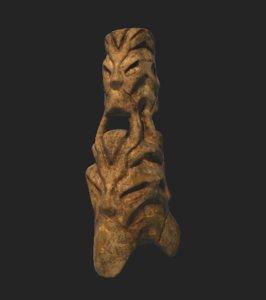 3D tiki statue