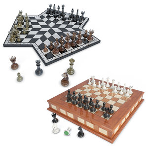 2 chess 3 players 3D model