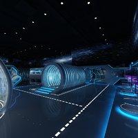 3D futuristic exhibition room