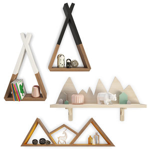 wooden decorations trendy shelves 3D model