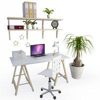 office desk computer composition 3D model