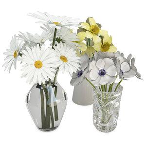 3D decoratives flowers vases bouquet
