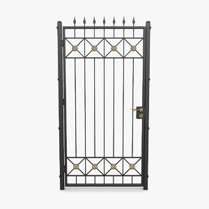 wrought iron gate 09 3D