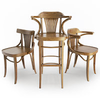 interior seats chairs wooden 3D model