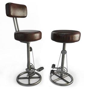 3D model vintage stools bike