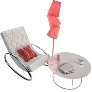 3D furniture chair table floor lamp