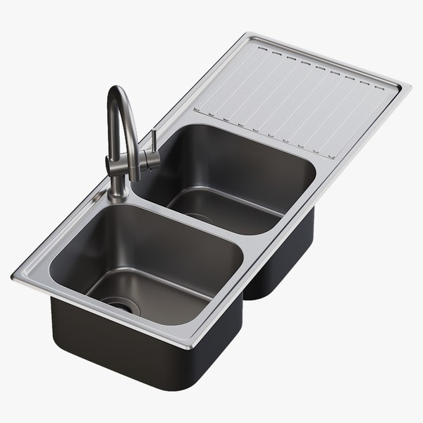 realistic sink alba mixer 3D model