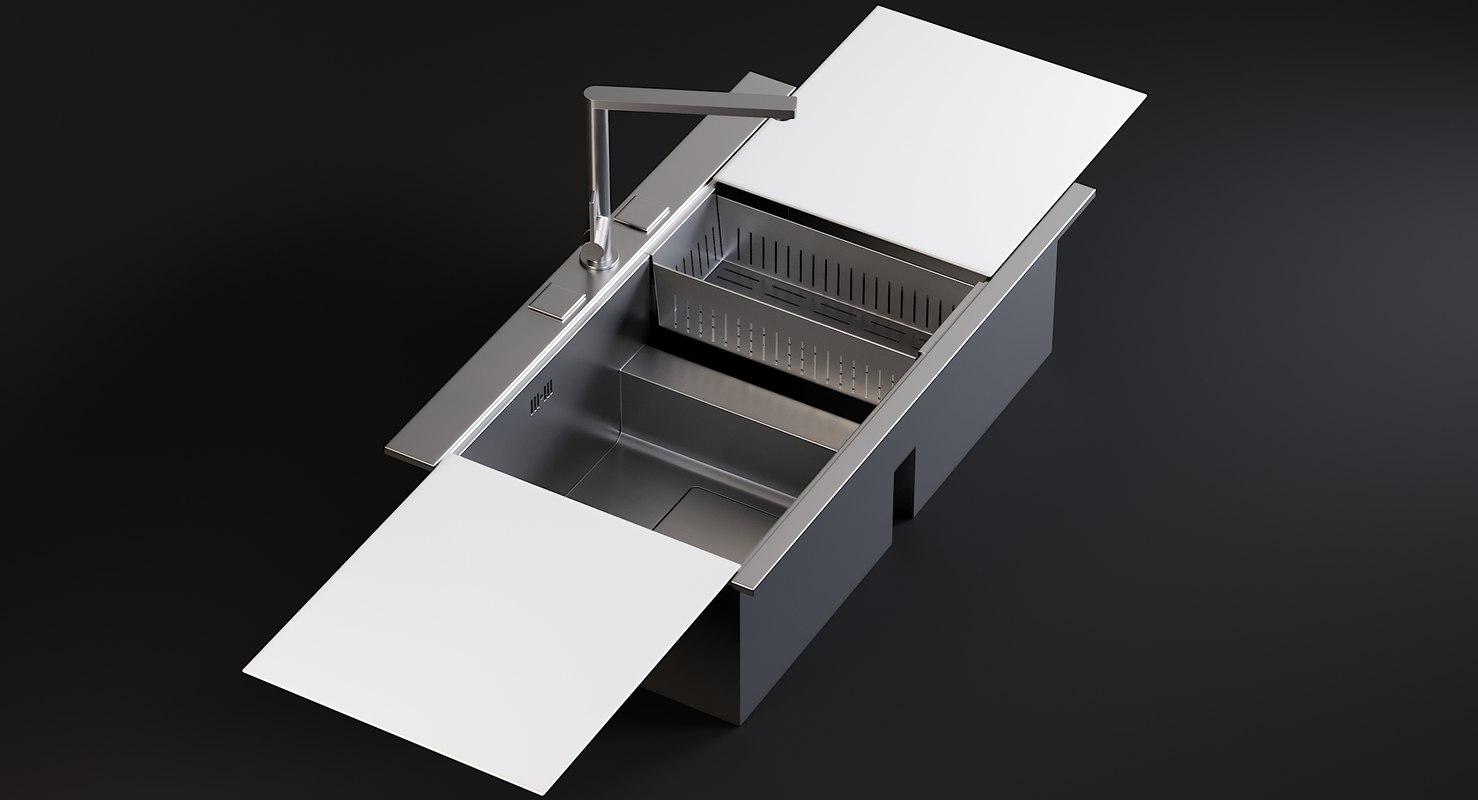 realistic sink linea mixer 3D model