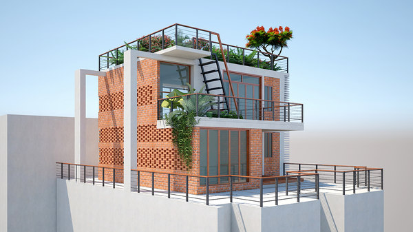 duplex house roof home 3D