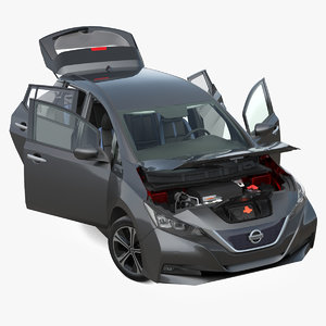 3D nissan leaf 2019 rigged model