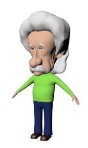 3D albert einstein caricature