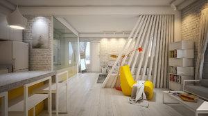 studio apartment interior scene 3D