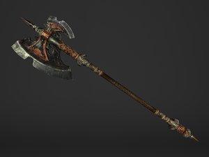 steel spear head battleaxe 3D