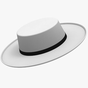 white boater hat 3D model