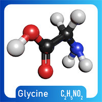 3D model c2h5no2 molecule glycine