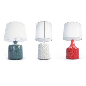3 table lamps light 3D model