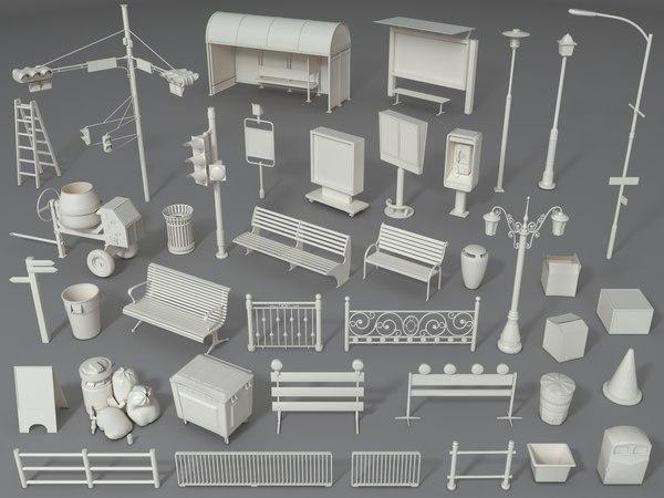3D barrier barricade mailbox model