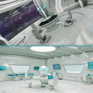 3D sci-fi control room