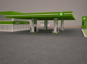 3D gas station building architecture