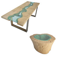 wooden tables river 3D model