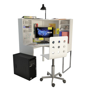 3D office teenager supplies computer model