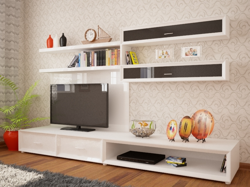 closet tv stand pillow furniture 3D model