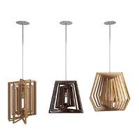 suspensions wooden lamps twist 3D model