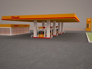 3D gas station building architecture