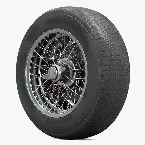 3D retro car wheel spokes